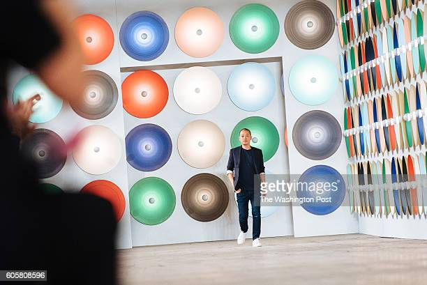 Boss Women Artistic Director Jason Wu takes a bow after the debut of his SS17 collection at Skylight Studios during New York Fashion Week on...