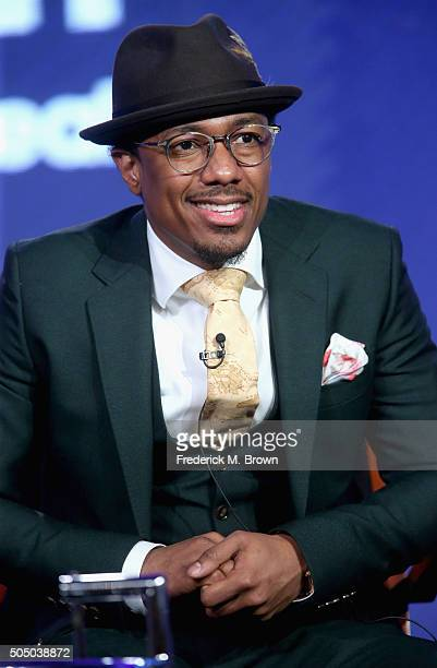 Boss/executive producer Nick Cannon speaks onstage during the 'Like A Boss' panel discussion at the NBCUniversal portion of the 2016 Winter TCA Tour...