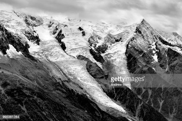 bossons glacier and taconnaz glacier of the mont blanc massif, chamonix, french alps - pinnacle peak stock pictures, royalty-free photos & images