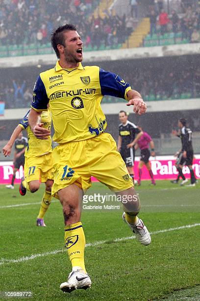 Bostjan Cesar of AC Chievo Verona celebrates after scoring the opening goal during the Serie A match between AC Chievo Verona and AC Cesena at Stadio...