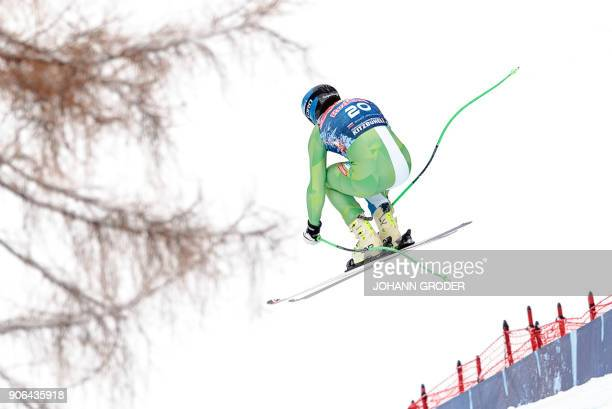 Bostjan Kline of Slovenia performs during a training session of the FIS Alpine World Cup Men's downhill event in Kitzbuehel Austria on January 18...