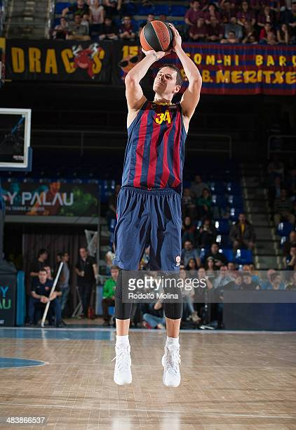 Bostjan Nachbar #34 of FC Barcelona in action during the 20132014 Turkish Airlines Euroleague Top 16 Date 14 game between FC Barcelona Regal v...