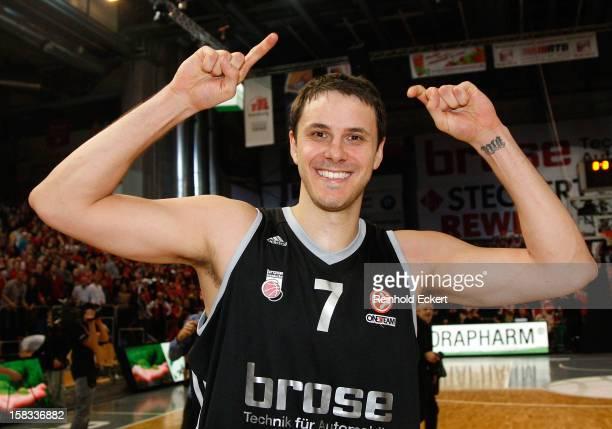 Bostjan Nachbar #7 of Brose Baskets Bamberg celebrates after the 20122013 Turkish Airlines Euroleague Regular Season Game Day 10 between Brose...