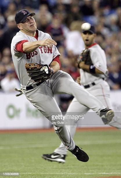 Boston 3B Kevin Youkillis throws to 1st for an out in MLB action between the Boston Red Sox and the Toronto Blue Jays at Rogers Centre in...
