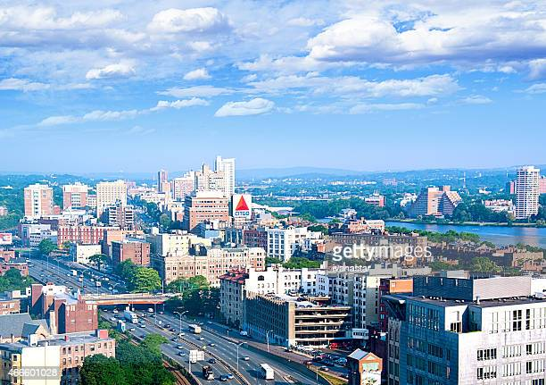 boston aerial view - borough district type stock pictures, royalty-free photos & images