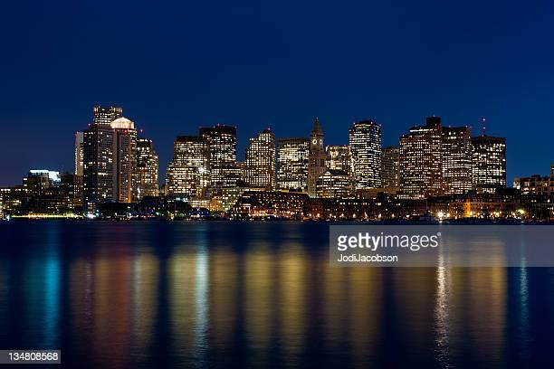 boston at dusk - boston skyline stock pictures, royalty-free photos & images