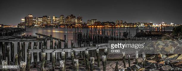 boston at night - massachusetts stock pictures, royalty-free photos & images