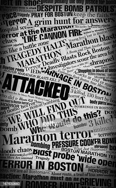 boston bombing newspaper headline collage - boston massacre stock pictures, royalty-free photos & images