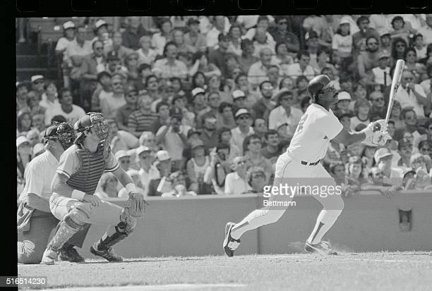 Bosox Jim Rice hits a grand slam home run against Blue Jay's pitcher Dave Stieb 3rd inning Fenway Park Jim Rice is congratulated by Bosox Carl...