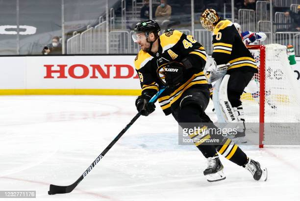 Boston Bruins center David Krejci starts up ice during a game between the Boston Bruins and the New York Rangers on May 8 at TD Garden in Boston,...