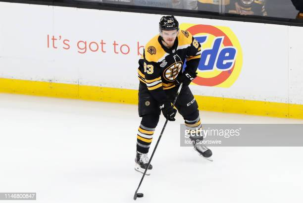 Boston Bruins center Karson Kuhlman before Game 1 of the 2019 Stanley Cup Finals between the Boston Bruins and the St Louis Blues on May 27 at TD...