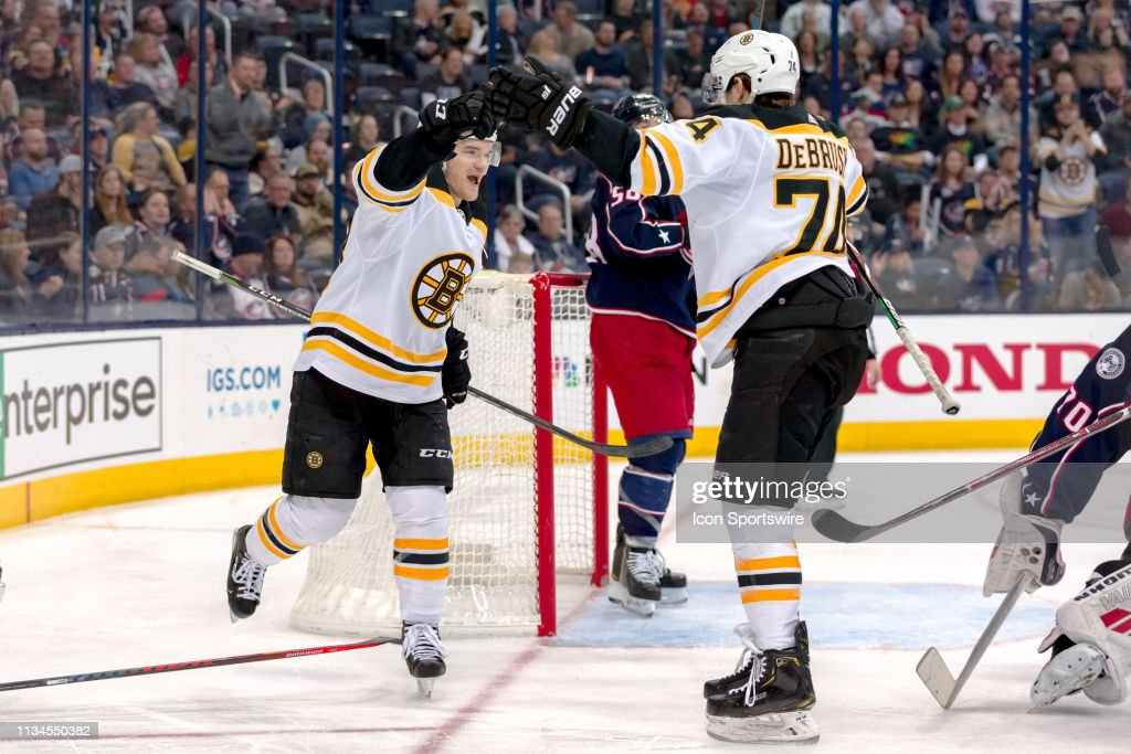 NHL: APR 02 Bruins at Blue Jackets : News Photo