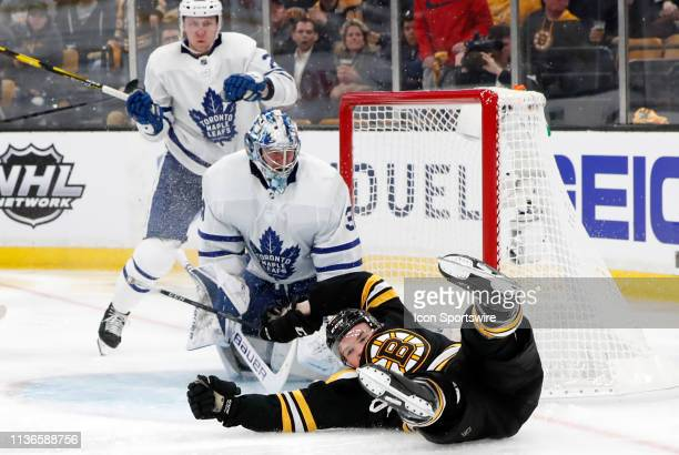Boston Bruins center Karson Kuhlman taken down during Game 1 of the First Round between the Boston Bruins and the Toronto Maple Leafs on April 11 at...