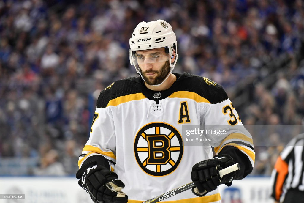 Boston Bruins center Patrice Bergeron (37) during the first period of an NHL Stanley Cup Eastern Conference Playoffs game between the Boston Bruins and the Tampa Bay Lightning on May 06, 2018, at Amalie Arena in Tampa, FL.