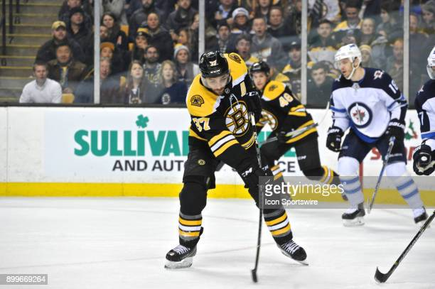 Boston Bruins Center Patrice Bergeron fires a rocket of a shot on net During the Boston Bruins game against the Winnipeg Jets on December 21 2017 at...