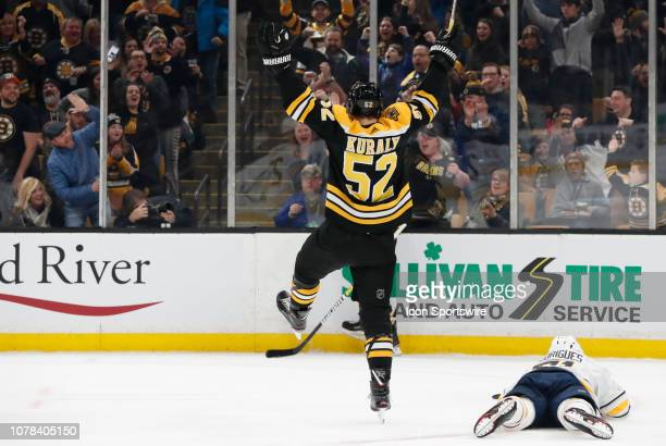 Boston Bruins center Sean Kuraly celebrates a Boston goal during a game between the Boston Bruins and the Buffalo Sabres on January 5 at TD Garden in...