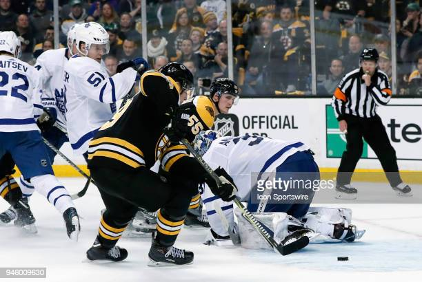 Boston Bruins center Tim Schaller moves in for the easy goal but the whistle had blown during Game 1 of the First Round for the 2018 Stanley Cup...