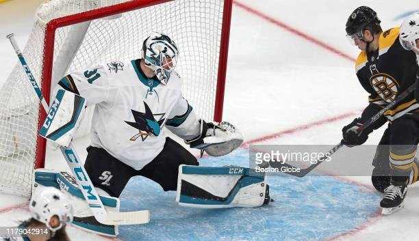 Boston Bruins' Charlie Coyle beats Sharks goalie Martin Jones for a second period goal The Boston Bruins host the San Jose Sharks in a regular season...