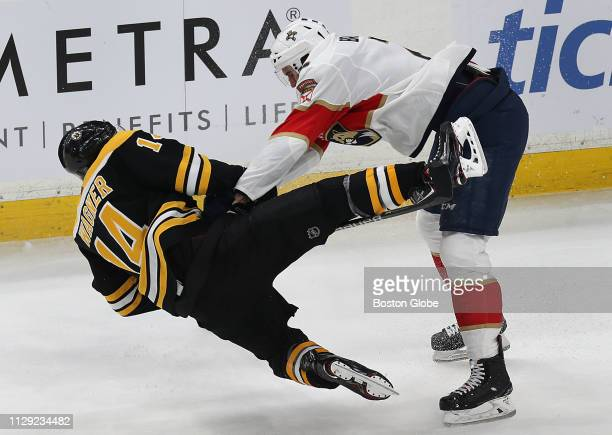 Boston Bruins' Chris Wagner collides with the Panthers' Josh Brown in the first period The Boston Bruins host the Florida Panthers in a regular...