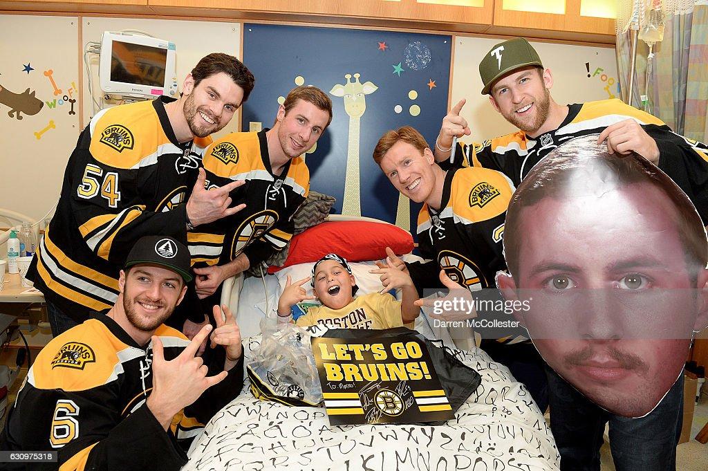 Boston Bruins L To R Colin Miller Adam McQuaid Tim Shaller