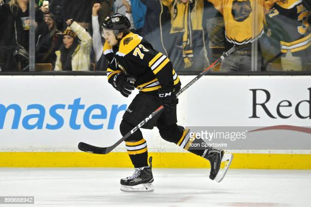 Boston Bruins Defenceman Charlie McAvoy is all smiles after scoring the game winning shootout goal On what turned out to be his 20th birthday During...
