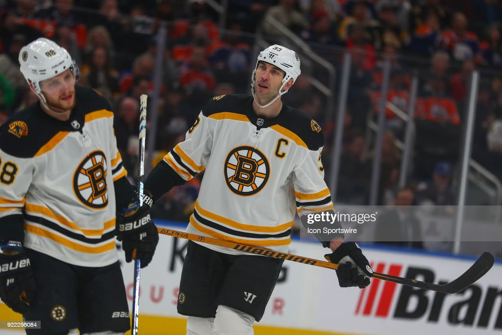 Boston Bruins Defenceman Zdeno Chara (33) in action during the Edmonton Oilers versus the Calgary Flames at Rogers Place on February 20, 2018 in Edmonton, Alberta.