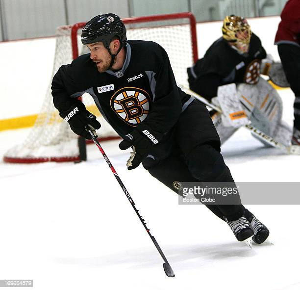 Boston Bruins defenseman Andrew Ference skates with the team for the second straight day The Boston Bruins held a practice at Ristuccia Arena in...