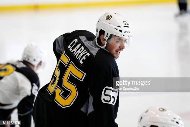 Boston Bruins defenseman Cameron Clarke during Bruins Development Camp on July 8 2017 at Warrior Ice Arena in Boston Massachusetts