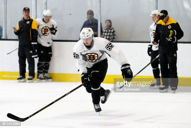 Boston Bruins defenseman Urho Vaakanainen skates his third shift in the time drill during Bruins Development Camp on July 8 2017 at Warrior Ice Arena...