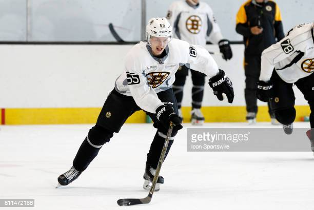 Boston Bruins defenseman Urho Vaakanainen skates in the timed drill during Bruins Development Camp on July 8 2017 at Warrior Ice Arena in Boston...