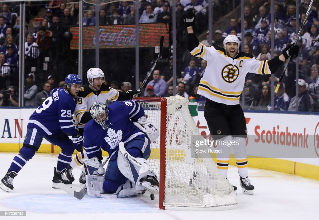 Toronto Maple Leafs play the Boston Bruins in their first round NHL Stanley Cup playoff series : News Photo