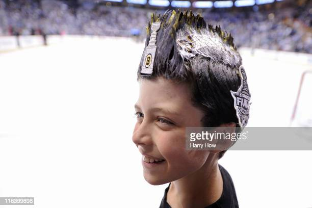 Boston Bruins fan poses prior to Game Seven between the Vancouver Canucks and the Boston Bruins the 2011 NHL Stanley Cup Final at Rogers Arena on...