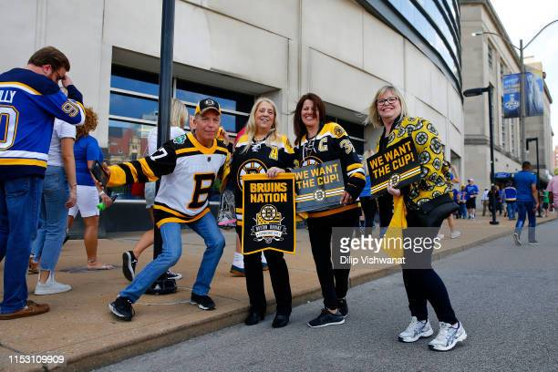 Boston Bruins fans gather outside the arena prior to Game Three of the 2019 NHL Stanley Cup Final between the Boston Bruins and the St. Louis Blues...