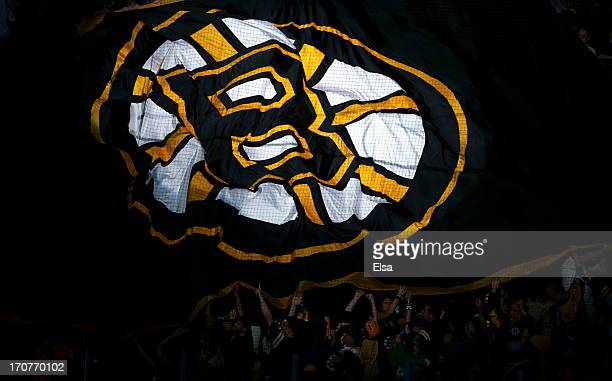 Boston Bruins flag is passed over the crowd during introductions for Game Three of the 2013 NHL Stanley Cup Final between the Chicago Blackhawks and...