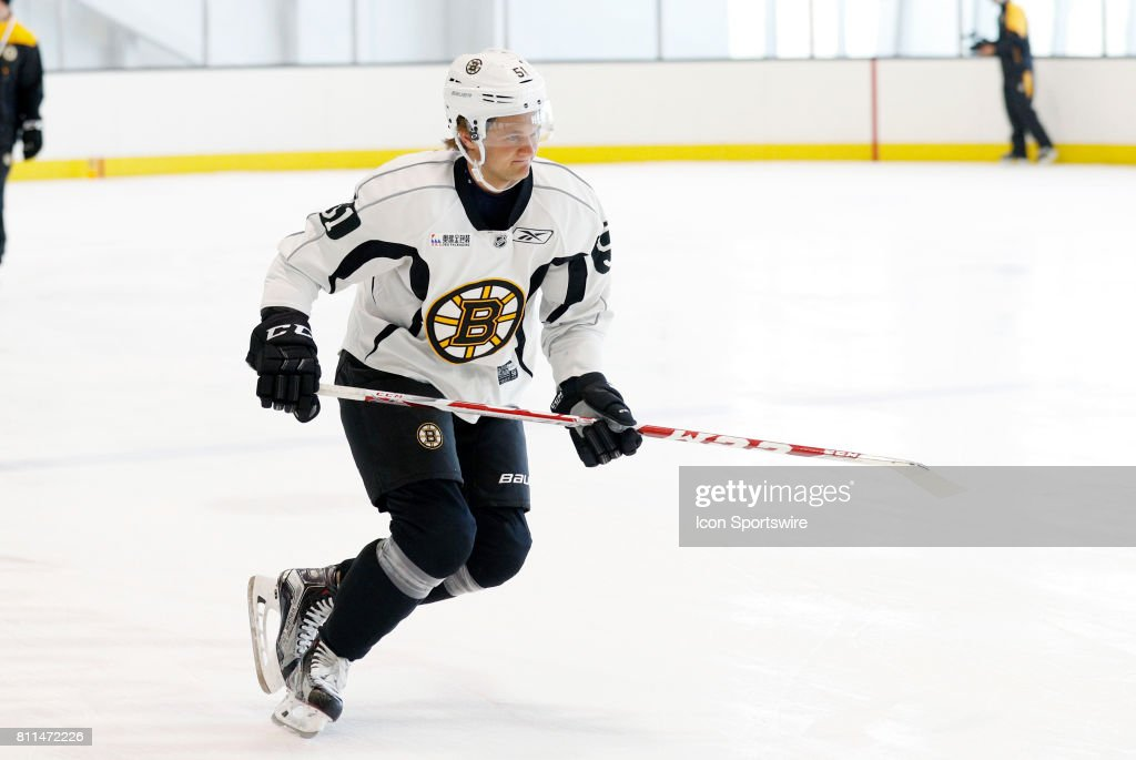 Boston Bruins forward Anders Bjork (51) warms up during Bruins Development Camp on July 8, 2017 at Warrior Ice Arena in Boston, Massachusetts.