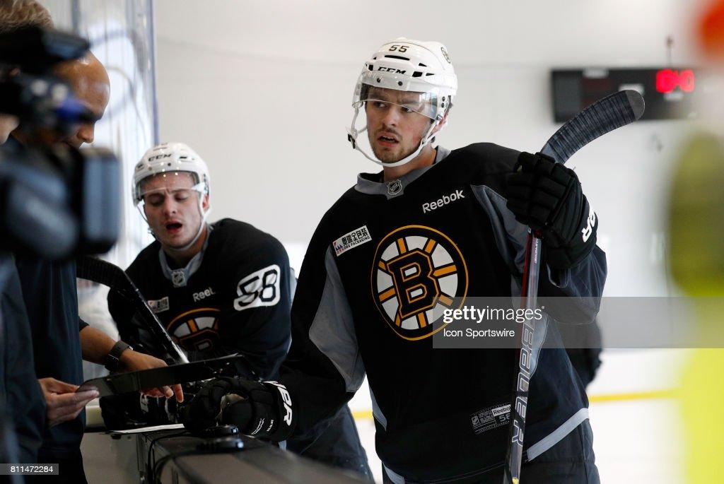 Boston Bruins forward Jesse Gabrielle (58) and Boston Bruins defenseman Cameron Clarke (55) get their times during Bruins Development Camp on July 8, 2017 at Warrior Ice Arena in Boston, Massachusetts.