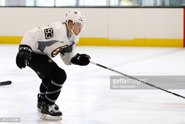 Boston Bruins forward Karson Kuhlman pushes toward the finish in the timed drill during Bruins Development Camp on July 8 2017 at Warrior Ice Arena...