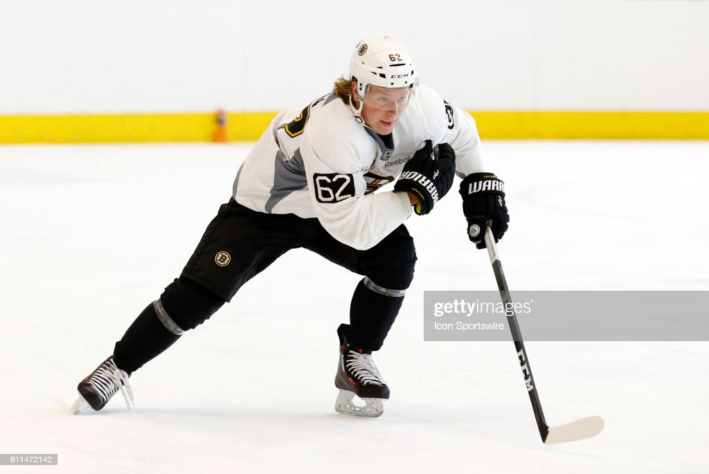 Boston Bruins forward Oskar Steen (62) skates in the timed drill during Bruins Development Camp on July 8, 2017 at Warrior Ice Arena in Boston, Massachusetts.