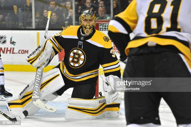 Boston Bruins Goalie Anton Khudobin gives Pittsburgh Penguins Right Wing Phil Kessel a dirty look after Kessel scores a goal During the Boston Bruins...