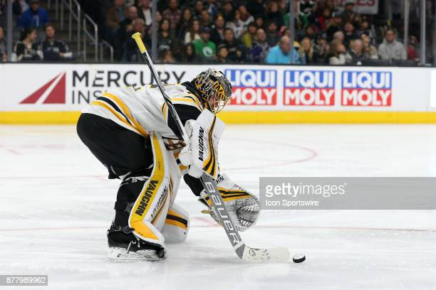 Boston Bruins goalie Anton Khudobin makes a save during the game against the Los Angeles Kings on November 16 at the Staples Center in Los Angeles CA
