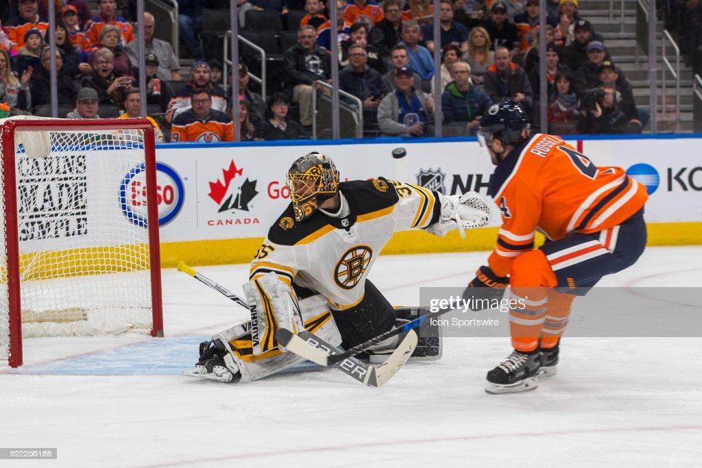 Boston Bruins Goalie Anton Khudobin (35) makes a save on Edmonton Oilers Defenceman Kris Russell (4) during the Edmonton Oilers versus the Calgary Flames at Rogers Place on February 20, 2018 in Edmonton, Alberta.
