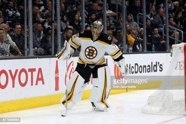 Boston Bruins goalie Anton Khudobin passes the puck during the game against the Los Angeles Kings on November 16 at the Staples Center in Los Angeles...