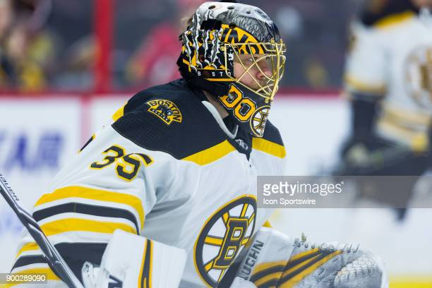 Boston Bruins Goalie Anton Khudobin prepares to make a save during warmup before National Hockey League action between the Boston Bruins and Ottawa...