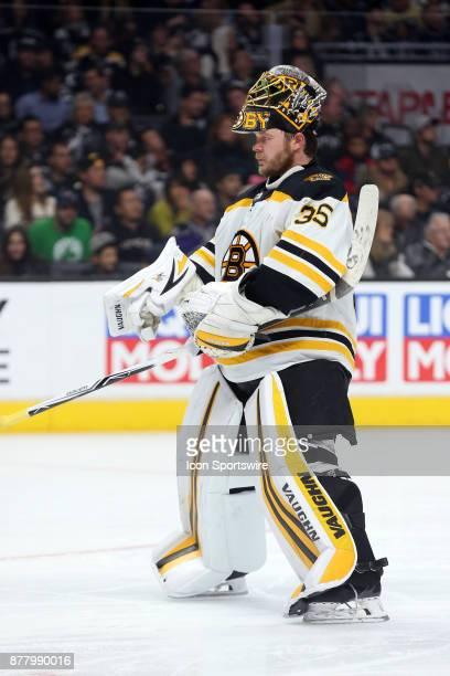 Boston Bruins goalie Anton Khudobin skates back to the goal during the game against the Los Angeles Kings on November 16 at the Staples Center in Los...