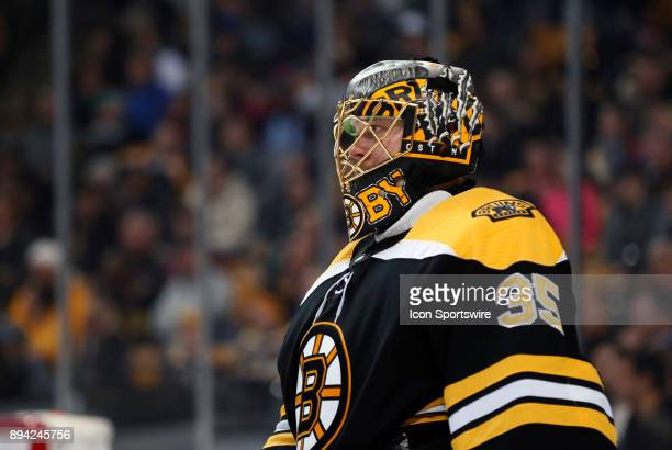 Boston Bruins goalie Anton Khudobin waits through a time out during a game between the Boston Bruins and the Washington Capitals on December 14 at TD...