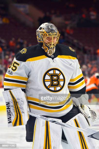 Boston Bruins goalie Anton Khudobin warms up before the NHL game between the Boston Bruins and the Philadelphia Flyers on December 02 2017 at the...