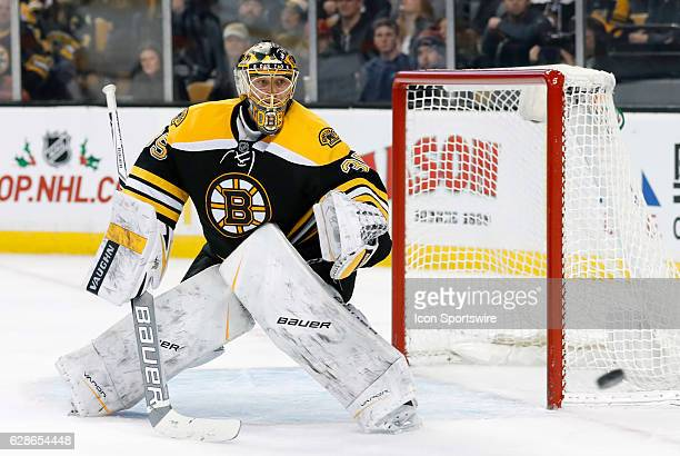Boston Bruins goalie Anton Khudobin watches a shot go wide during a regular season NHL game between the Boston Bruins and the Colorado Avalanche on...