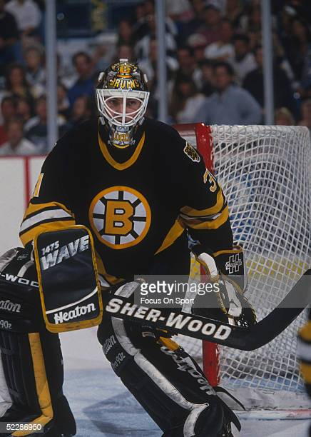 Boston Bruins' goalie Blaine Lacher tends the goal during a game against the Tampa Bay Lightning at StPete Times Forum circa the 19945 season in...