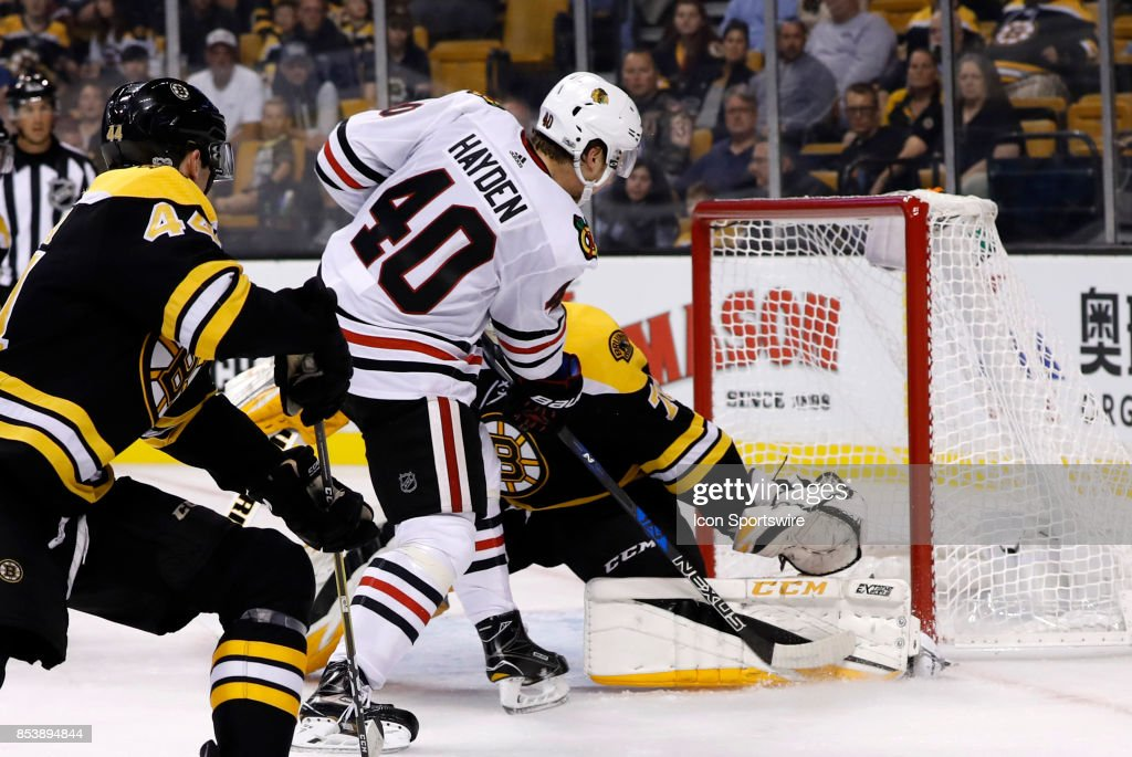 Boston Bruins Goalie Malcolm Subban Makes A Left Pad Save On Chicago