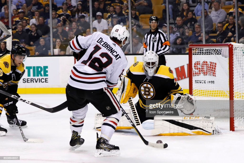 Boston Bruins Goalie Malcolm Subban Stares Down The Shot From